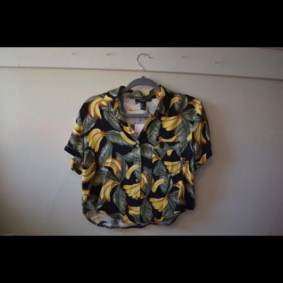 97a4377bc Forever 21 Tops | Tropical Banana Hawaiian Shirt | Poshmark